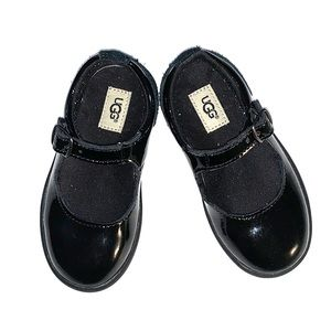 UGG black patent and suede Mary Janes